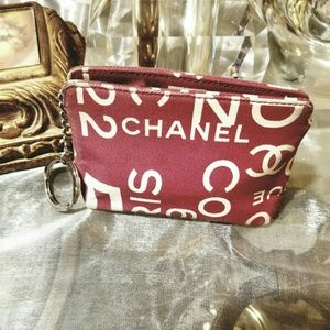 Chanel coin purse / key chain red canvas